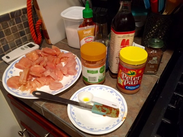 massaman curry with chicken ingredients assembled