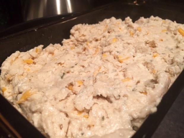 garlic cheddar beer bread dough loaf pan