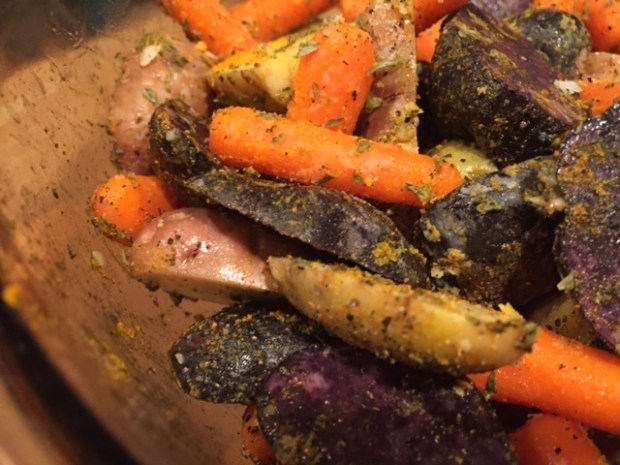 roasted carrots & potatoes with turmeric spices coated