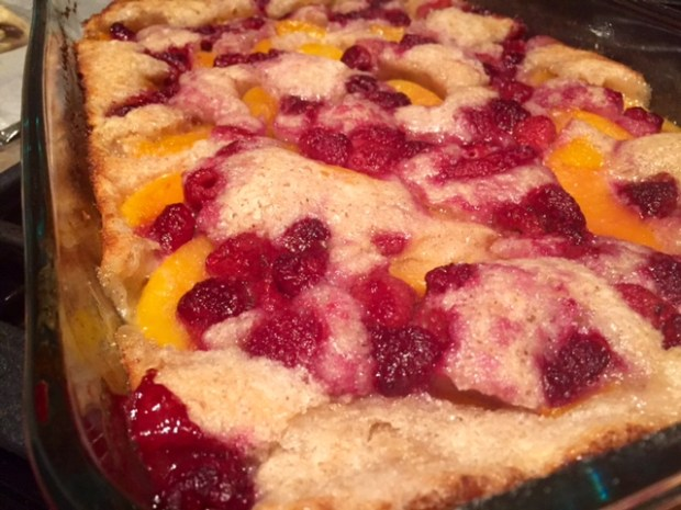 Peach Raspberry Cobbler finished