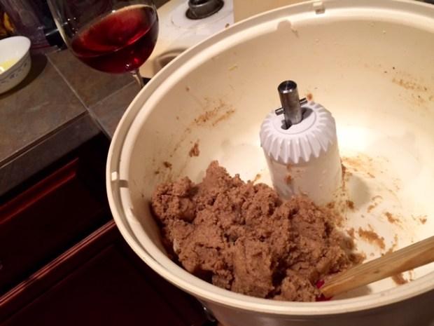 apricot linzer torte dough wine glass
