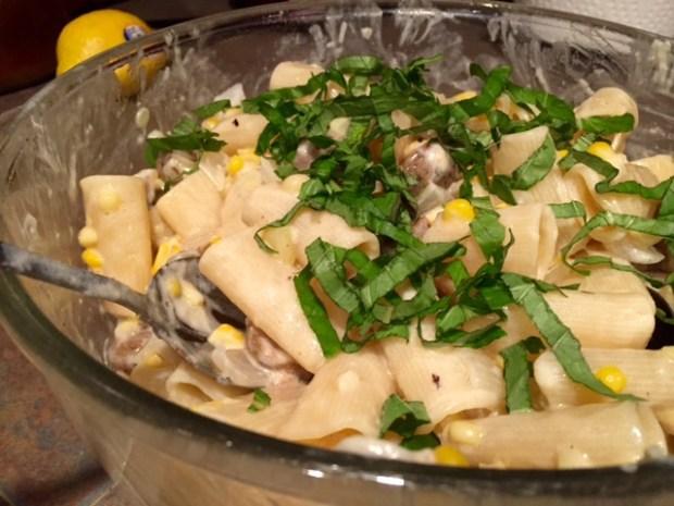 creamy sweet corn & sausage pasta parmesan basil tossed