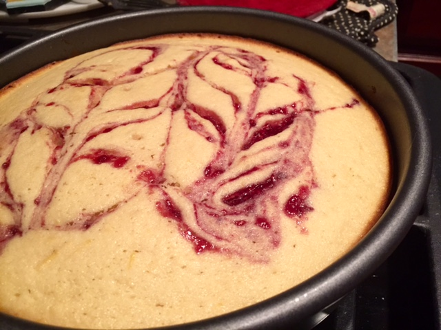 Lemon Cake with Raspberry Jam Swirl & Raspberry Icing