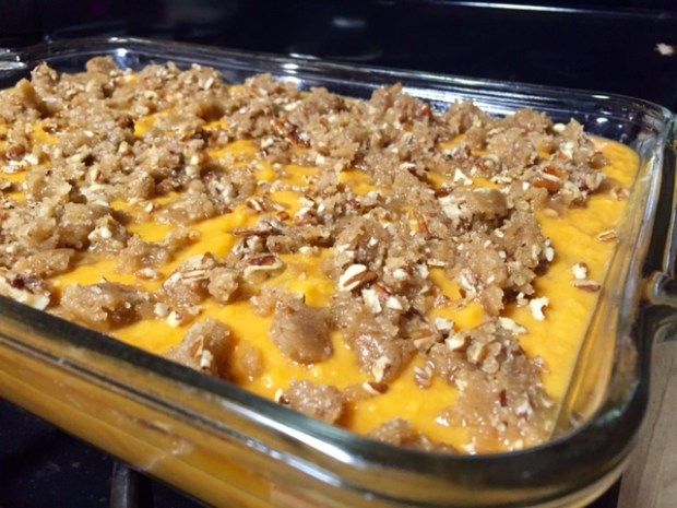 Sweet Potato Casserole...not too sweet, but nice streusel topping