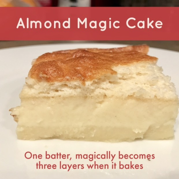 Obsessed with this almond-flavored magic cake...becomes three different layers while it bakes, sooo yummy
