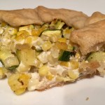 Fresh Corn Galette with Goat Cheese, Zucchini, and Thyme