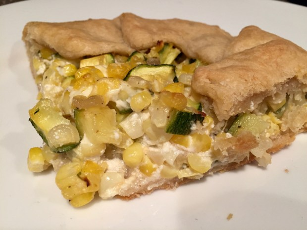 Summer corn galette with goat cheese, zucchini, & thyme...summer recipe perfection, looks fancy but is easy to make