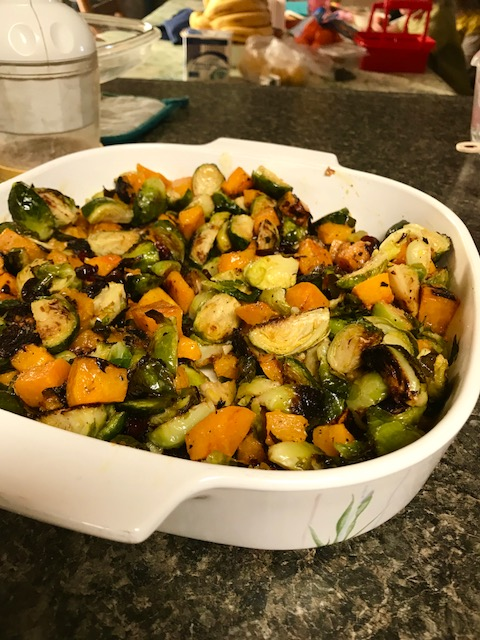Roasted Brussels Sprouts & Butternut Squash with Dijon Vinaigrette | perfect holiday side dish, make ahead side dish for Thanksgiving, healthy side dish recipes, delicious and healthy | finding time for cooking #brusselssprouts #butternutsquash #sidedish