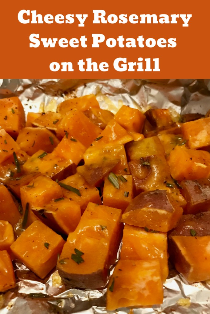 Cheesy Rosemary Sweet Potatoes on the Grill | Super easy, delicious, healthy side dish, weeknight dinner side dish recipes. Healthy dinner recipes, fast side dishes for weeknight dinners. #grilling #sweetpotatoes #sidedish