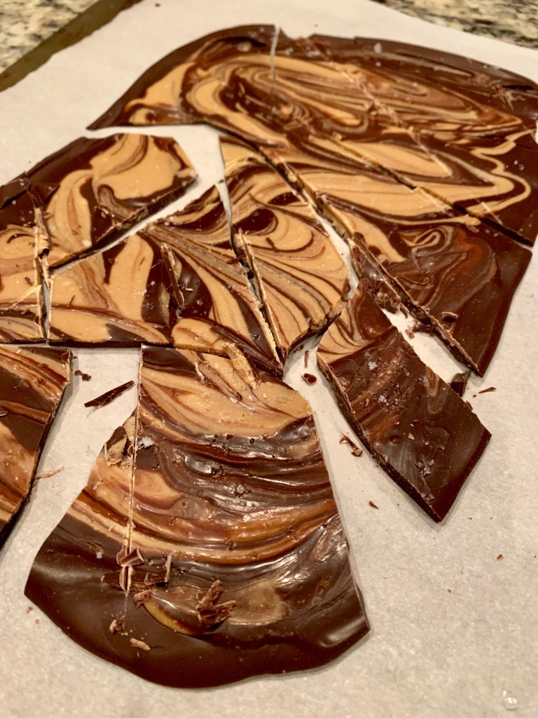 Addictive Dark Chocolate, Peanut Butter, & Tahini Bark | this super easy & totally delicious bark can be made in just a few minutes & is an indulgent but semi-healthy dessert! Naturally gluten-free as well.
