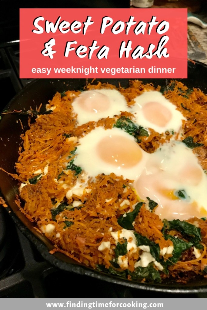Feta & Sweet Potato Hash | This healthy breakfast recipe is easy & delicious, and a perfect Meatless Monday dinner option, and it makes great leftovers too! #sweetpotato #breakfast #brunch #meatless #vegetarian #dinner #feta #kale #chard