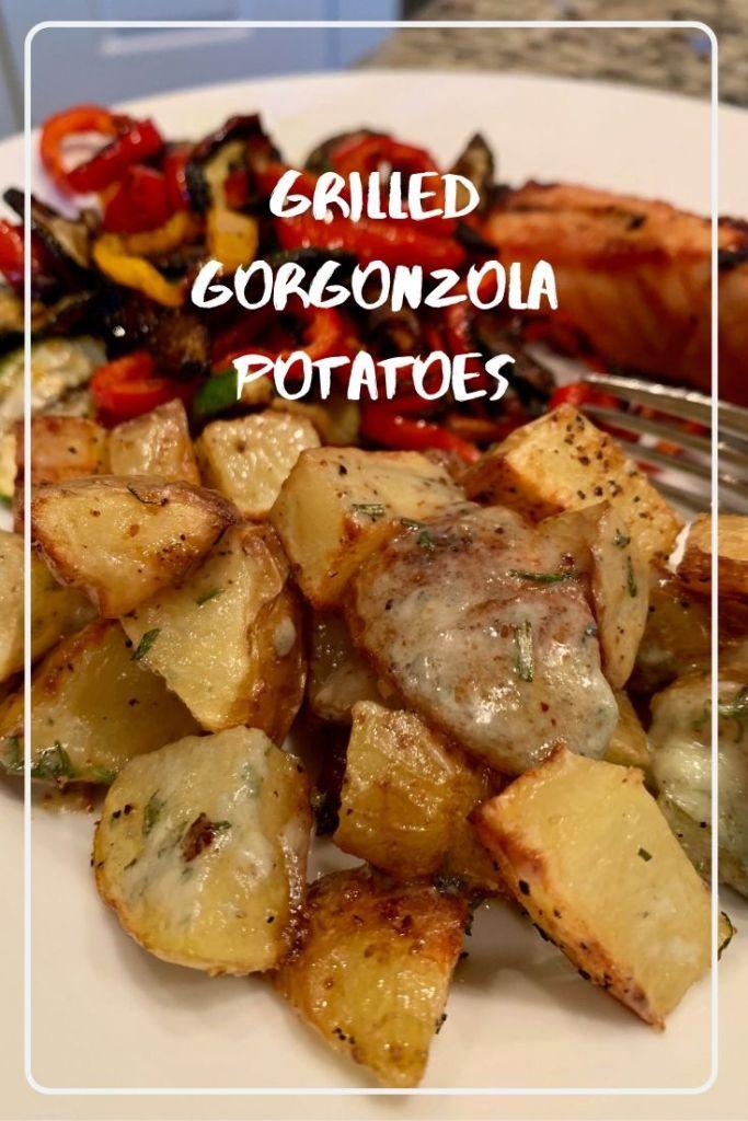 Gorgonzola Grilled Potatoes - pinterest overlay
