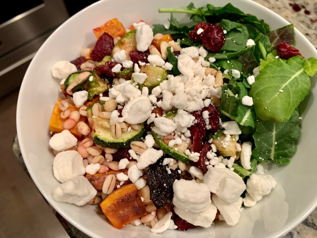 Roasted Vegetable Salad with Grains & Balsamic Dressing