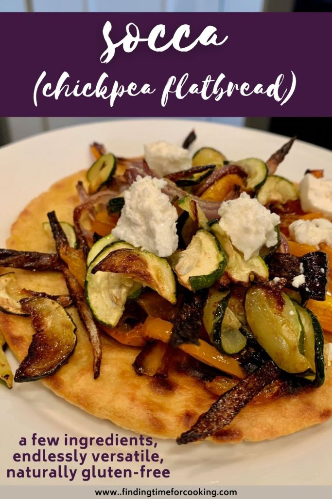 Simple Socca (Chickpea Flatbread) with Roasted Veggies | Also called farinata, this simple socca only takes a few ingredients, is very easy, versatile, and healthy. It's naturally gluten-free, egg-free, and dairy-free, packed with protein, and can be topped with whatever you have. Perfect healthy meal any time of day. #gf #glutenfree #soccca #chickpea #healthyrecipe