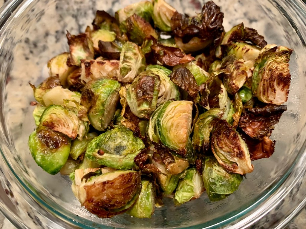 Crispy Roasted Brussels Sprouts with Honey Balsamic Drizzle
