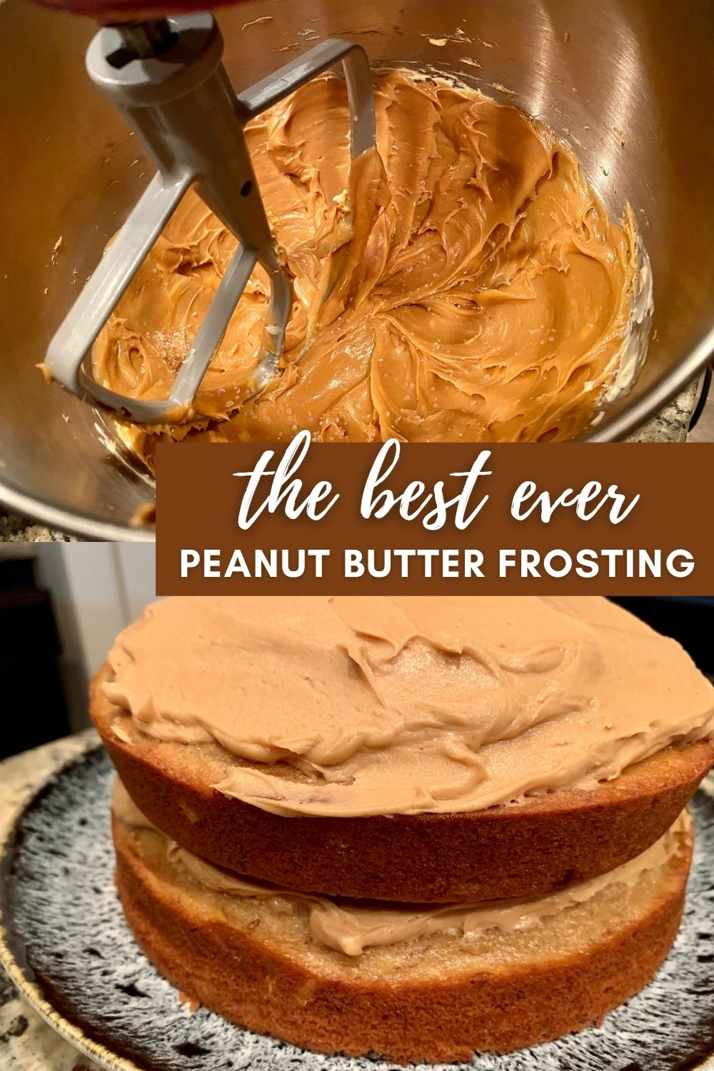 The Best Peanut Butter Frosting Ever | This super peanut butter-y icing is delicious and packed with flavor, super easy to make and great on tons of different cakes. If you're looking for a peanut icing recipe, this is the one. #peanutbutter #frosting #cakeicing