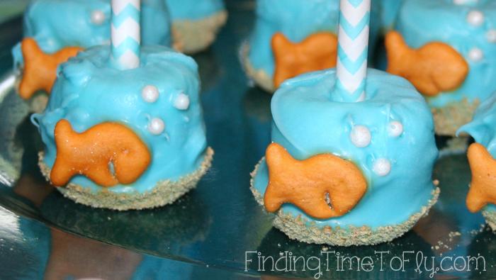 Goldfish Marshmallow Pops Closeup