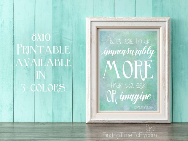 Immeasurably More Ephesians 3:20 Printable