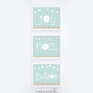 Beachy Coastal Christmas Prints: JOY, NOEL, BELIEVE