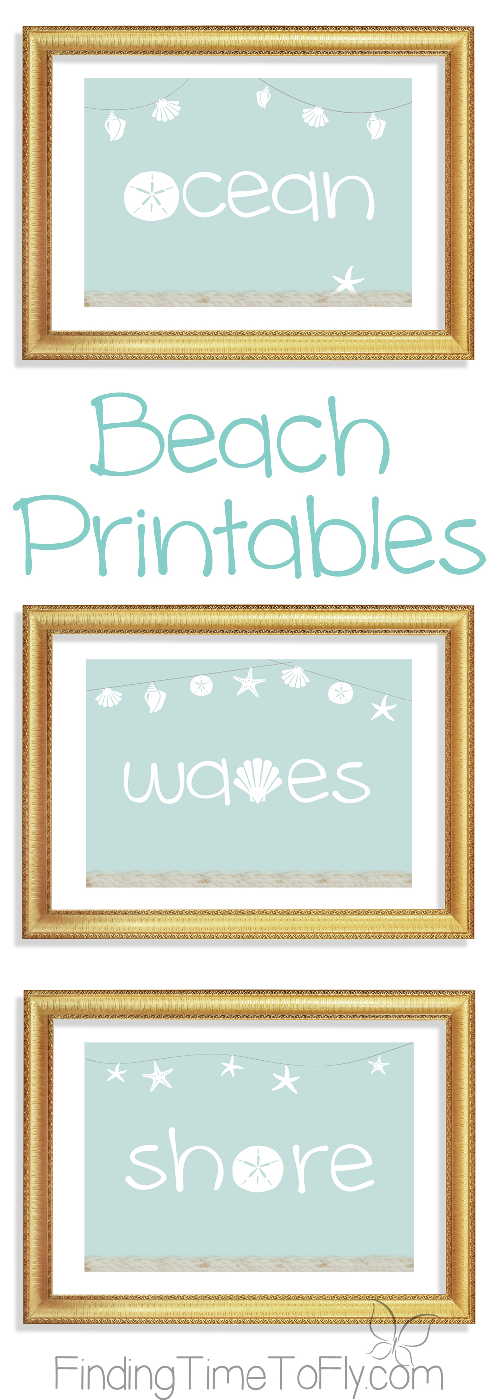 I love this set of 3 beach prints! They will go perfectly with my coastal decor! Love the gold frames, too!