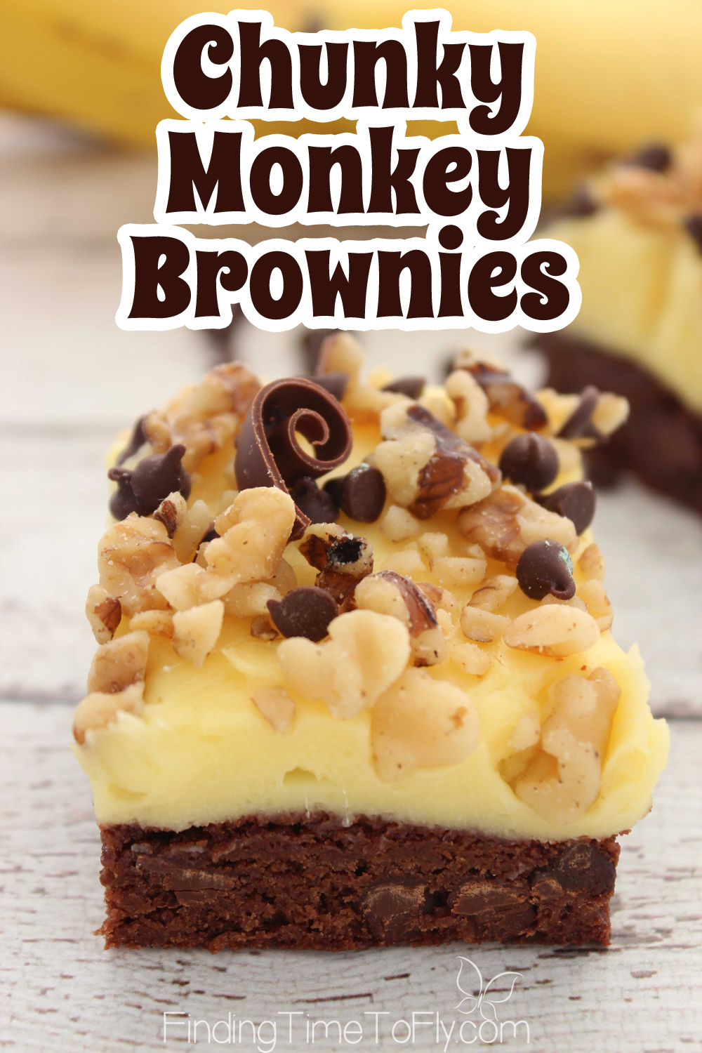 Chunky Monkey Brownies are a great option for a potluck dessert. Love chocolate and banana flavors together!