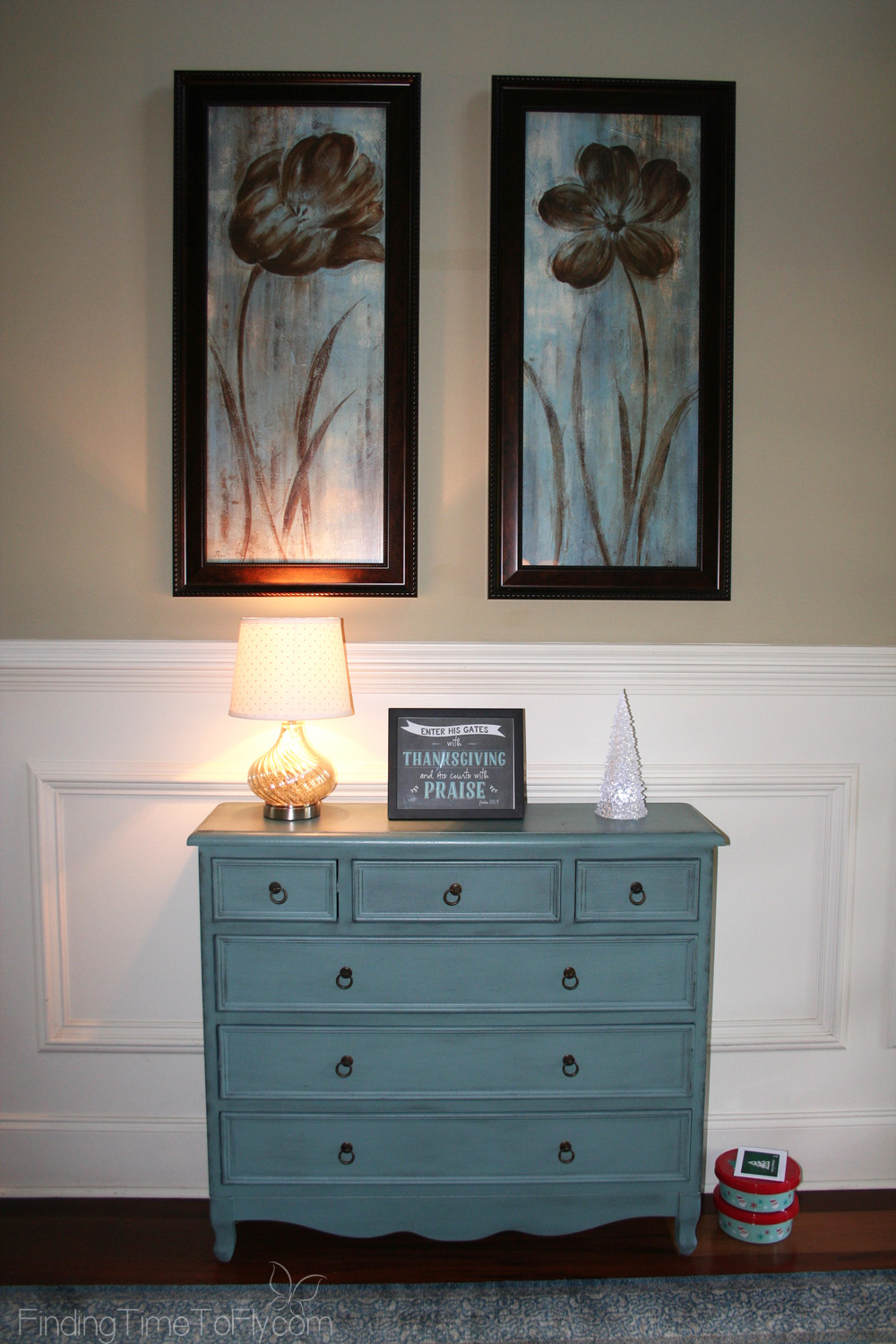 Blue and Gold Coastal Christmas Entryway