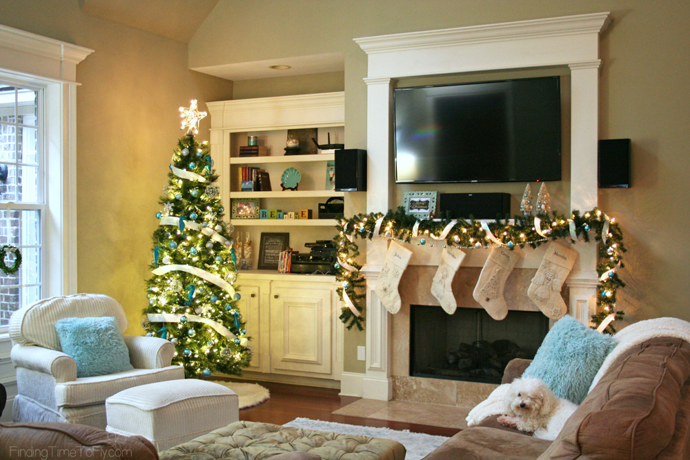 Blue and White Coastal Christmas Living Room