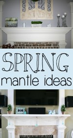 Simple Spring Fireplace Mantle Decor