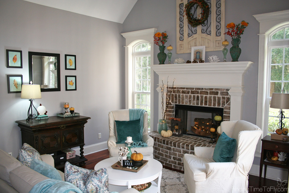 Orange and Teal Fall Decor