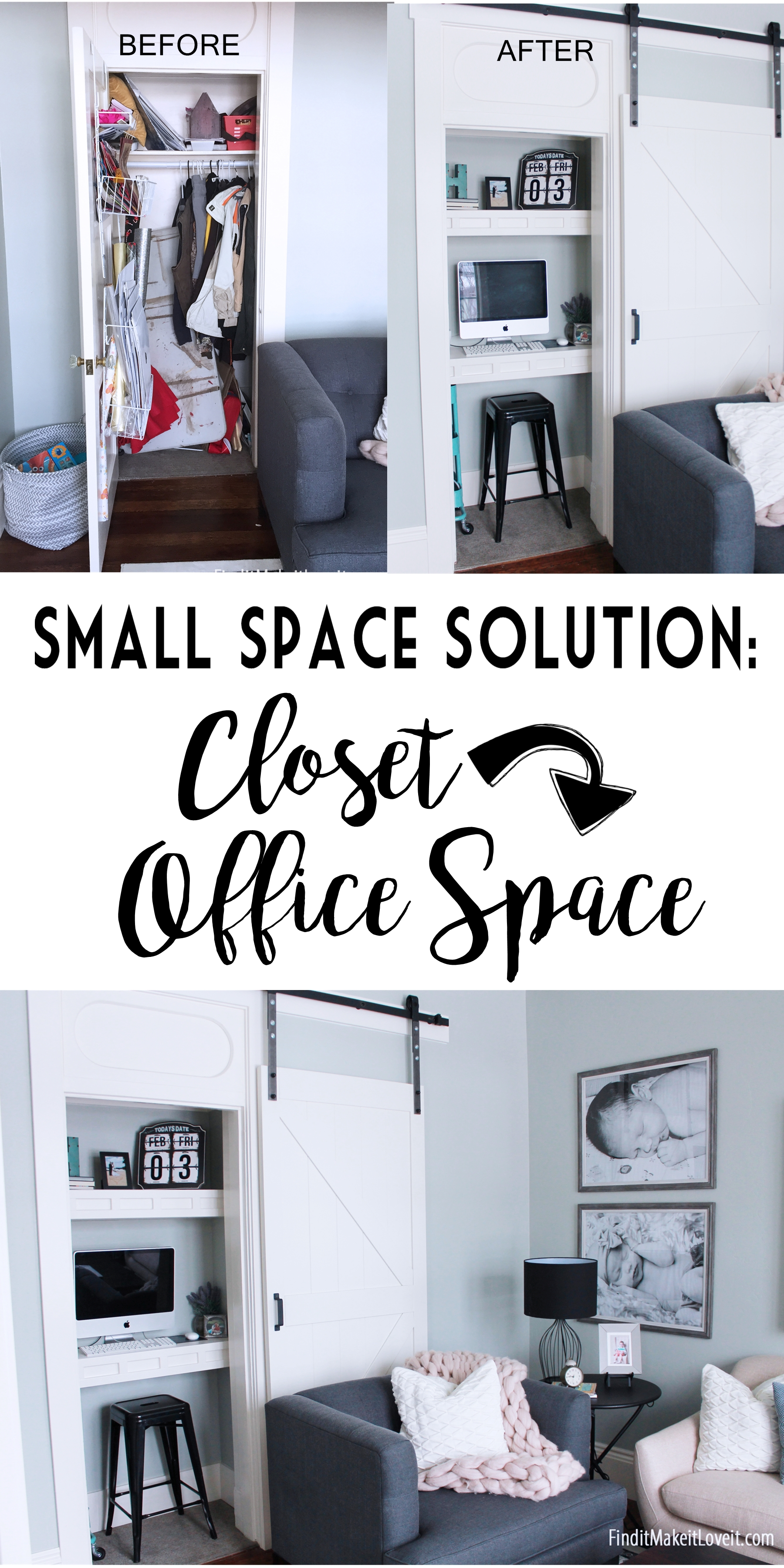 Small space solution-a closet turned into a functional office space. Quick weekend project!
