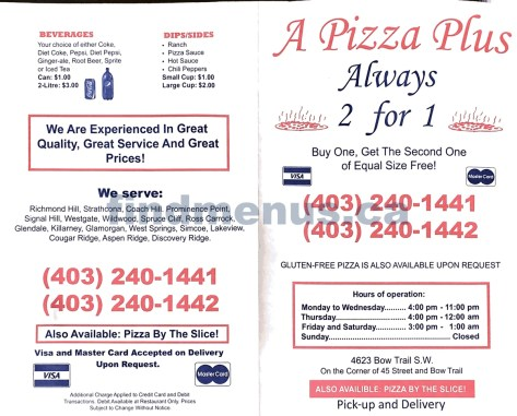 A Plus Pizza Menu (page 1)