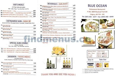 Blue Ocean Vietnamese Restaurant Menu 1