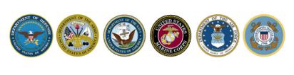 Air Force, Army, Coast Guard, Marines, Navy Logos