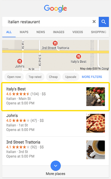 Google ranking in a local search with Rapid Reviews