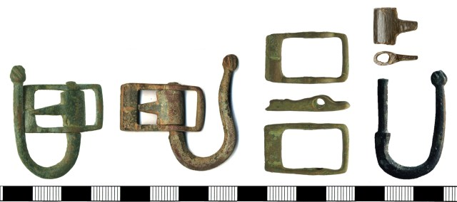 Buckles with swivelling arms (HAMP-1E6A51 and SF5544) and their separate components (HAMP-5ABD64, SOM-4B62FE and SUR-DBC7FA)