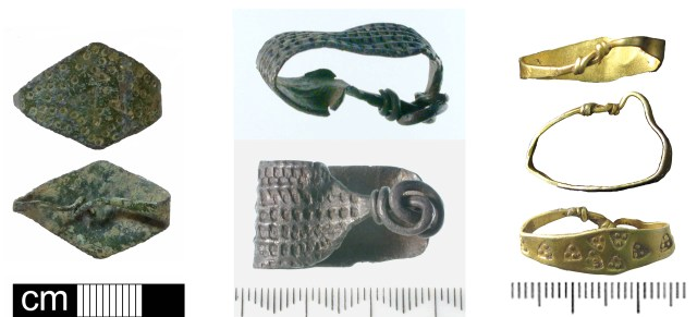 Late early-medieval wide strip finger-rings of copper alloy (NMS-D6A72C), silver (SF9727) and gold (SWYOR-56EA98)