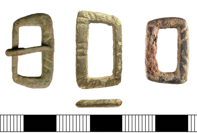 Trapezoidal buckles of the type found on the Mary Rose (SUSS-616B16, IOW-78D2A6 and SUSS-BC5C35)