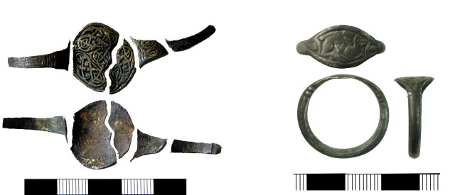 Finger-rings decorated in Mercian style (YORYM-CB6717) and Trewhiddle style (HAMP-C25EF3)