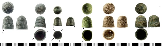 Six thimbles, all probably of 15th-century date, most with indentations in a left-hand spiral, and with notches (arrowed). From left: LON-11F0CD, DENO-CFB9C2, SWYOR-9EC618, SF-B32126, IOW-E53E05, SUSS-76A784.