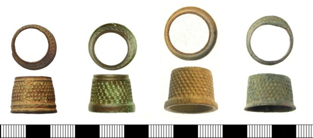 Post-medieval thimbles, perhaps of 17th- or 18th-century date. Left to right: SUR-2A106B, WILT-0BE1AE, SWYOR-CC7124, SWYOR-E2C1AE.