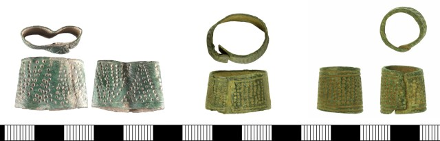 Ring-type thimbles with overlapping soldered seams. Left to right: SUSS-7F3724, WILT-BE138A, BH-C71334. Read suggests that these date to c. 1200-1450 (Read 2018, 7-10).