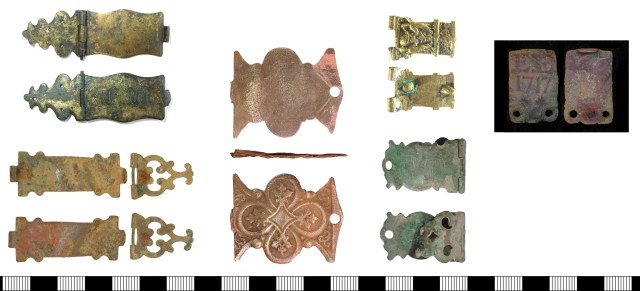 Objects that have been suggested as later post-medieval book clasps (DENO-7678B3, SOM-909472, NLM-4F2825, LON-63D127, PUBLIC-D033C8, LEIC-F82DD1).