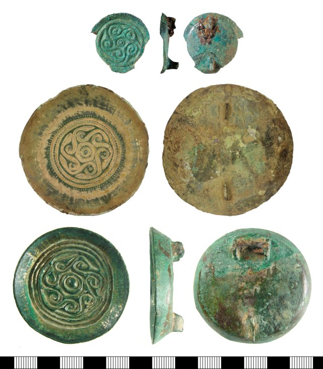 Cast saucer brooches with running spiral decoration. Top, five spirals (BH-DA0FEC); centre, six spirals (WILT-7ED520); bottom, seven spirals (HAMP-005BE3).