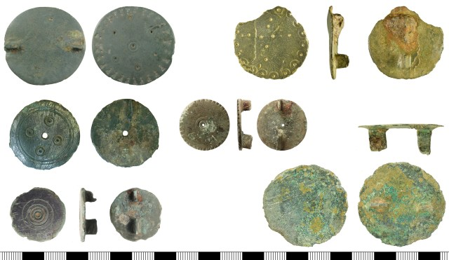 Early Anglo-Saxon disc brooches from the PAS database. Left, top to bottom: BUC-1541AE, DUR-8F4A7E, KENT-3D208B. Centre: IOW-AA0E06. Right, top to bottom: SF-E14483, BERK-66C1FC.