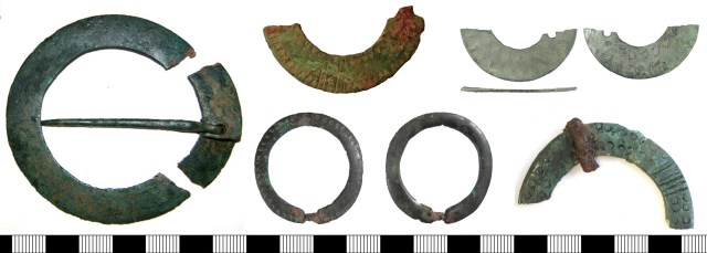 Left: annular brooch made from strip with overlapping ends, closed by the copper-alloy pin within its pin hole (CAM-0B11E1). The other brooches in this picture all have stamped and engraved decoration (above, FAKL-9635F8 and BUC-08DE33; below, LIN-91032E and NCL-882DE8).