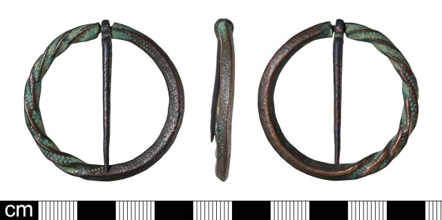 Medieval annular brooch with cabled (twisted) decoration (BH-D9F2C8). Note that only half of the brooch has been decorated in this way.