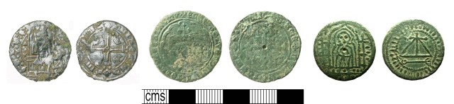 Medieval English jettons of later types: Seated king type bust (left, SUR-DDE764); 'Wardrobe' counter (centre, HAMP-21B83D); contemporary copy of the Standing king type. Copyrights: Surrey County Council; The Portable Antiquities Scheme; Buckinghamshire County Museum; CC-BY licence)