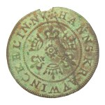 Post-medieval Nuremberg jetton: 'Gottes gaben' legend on rose/orb type of Hans Krauwinckel II (HAMP-9351E8). Copyright: Hampshire Cultural Trust; CC-BY licence)