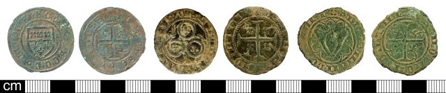 Neat, late designs on (late) Tournai jettons: Angular shield type (left, SOM-94C3C0); Three circles type (centre, GLO-DE5894); V monogram type (right, YORYM-2BEE11). Copyrights: Somerset County Council; Bristol City Council; York Museums Trust; CC-BY licence)