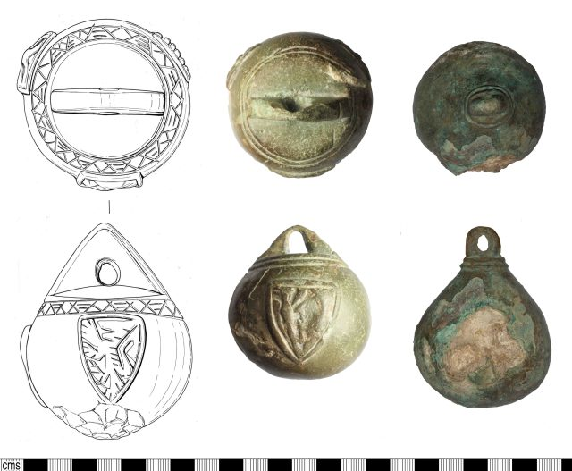 Medieval steelyard weights: official weight with band of triangles above the shields (left); unofficial weight with unusual shield, and simple ridges and grooves above (centre); plain weight (right). Copyright: Suffolk County Council Archaeology Service; The Portable Antiquities Scheme; Somerset County Council; CC-BY licence)